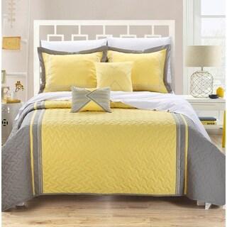 Mi Zone Mackenzie Yellow Grey Patterned 4 Piece Quilt Set