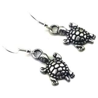 Mama Designs Handmade Sterling Silver Turtle Dangling Earrings