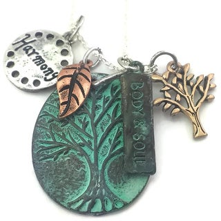 Mama Designs Handmade Patina and Gold Inspirational Charm Necklace