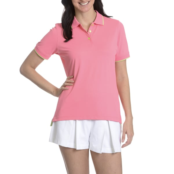 Peter Millar E4 Performance Women's Pink Short Sleeve Collared Top
