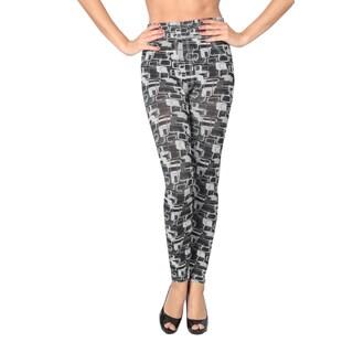 Women's Geometric Black/ White/ Grey Hacci Knit Leggings