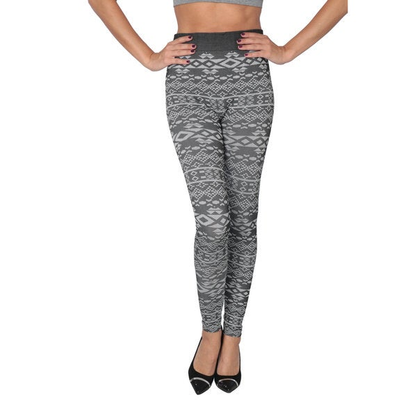 Women's Grey Geometric Leggings with Brushed Lining