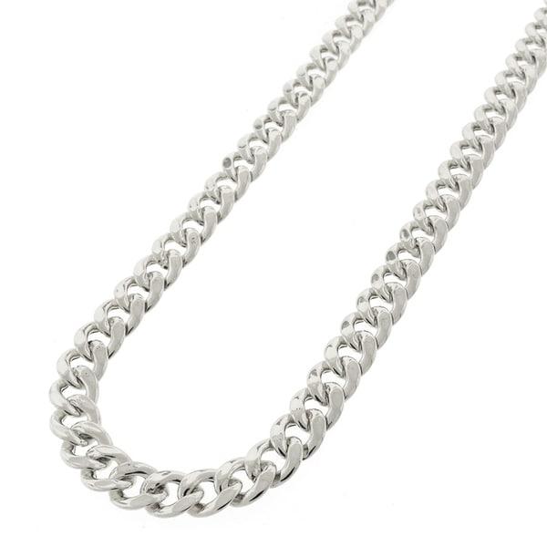Cuban Chain Platinum: .925 Sterling Silver Hollow Miami Cuban Curb Link Rhodium