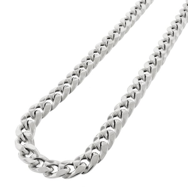 .925 Sterling Silver Hollow Miami Cuban Curb Link Rhodium Plated 10 mm Chain Necklace