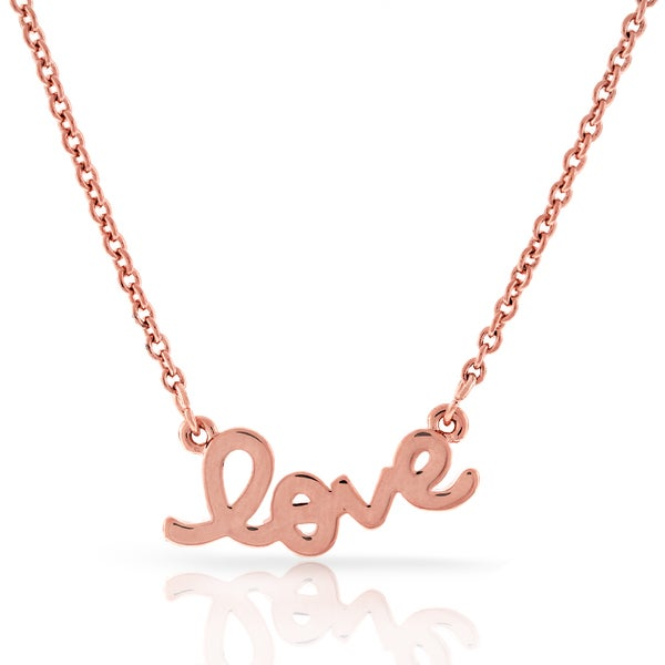 Womens Fashion Love Rose Gold Plated Brass Pendant 18-inch Chain Necklace High Polish