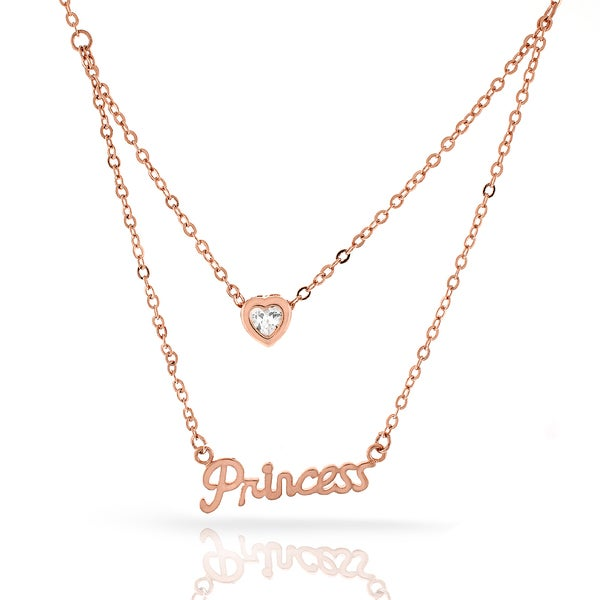 Womens Fashion Princess Crystal Heart Rose Gold Plated Pendant 18-inch Chain Necklace