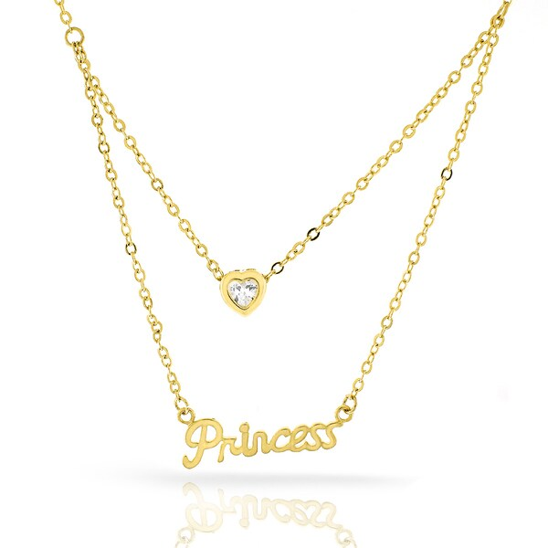 Womens Fashion Princess Crystal Heart Yellow Gold Plated Pendant 18-inch Chain Necklace