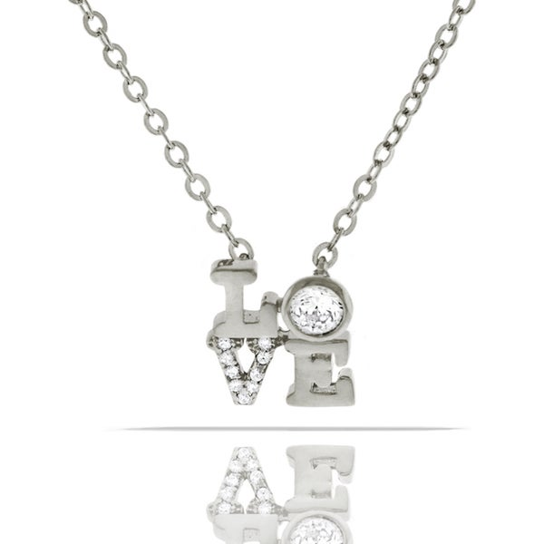 Womens Fashion Love Crystal Pendant 18-inch Chain Necklace