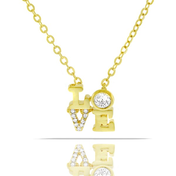 Womens Fashion Love Crystal Yellow Gold Plated Pendant 18-inch Chain Necklace