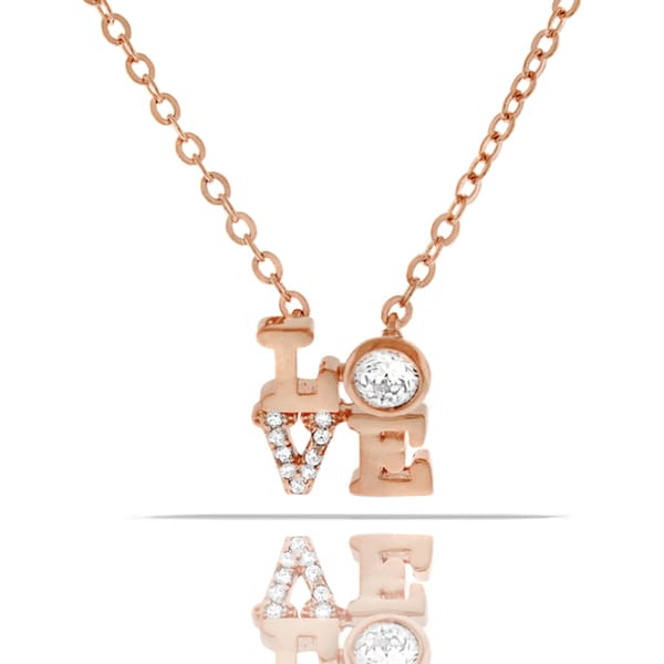 Womens Fashion Love Crystal Rose Gold Plated Pendant 18-inch Chain Necklace