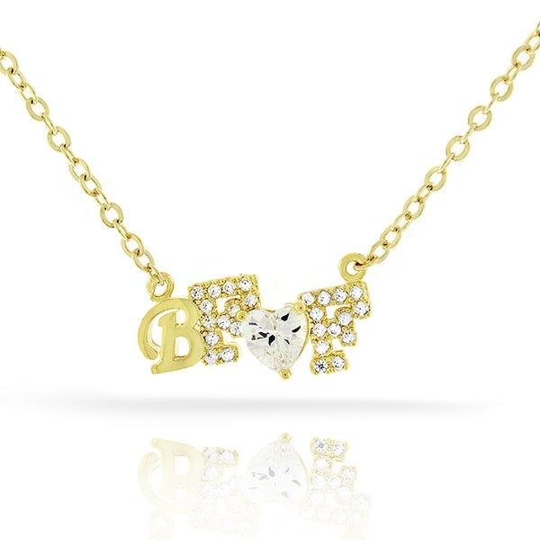 Womens Fashion Best Friend BFF Heart Crystal Yellow Gold Plated Pendant 18-inch Chain Necklace