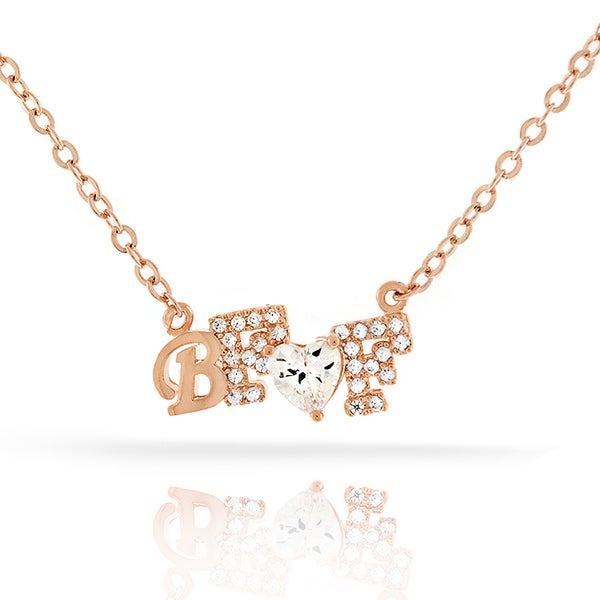 Womens Fashion Best Friend BFF Heart Crystal Rose Gold Plated Pendant 18-inch Chain Necklace