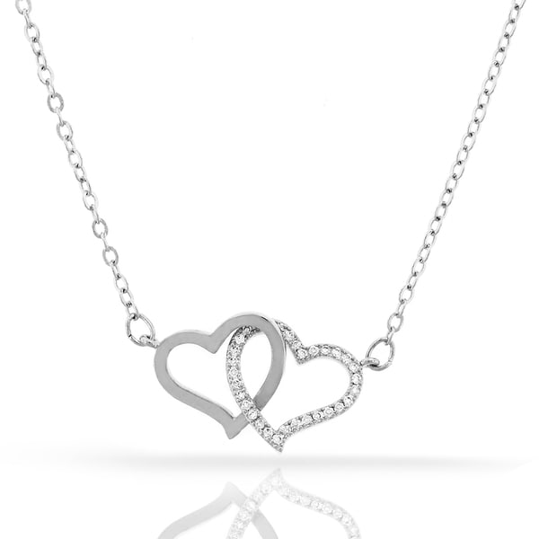 Womens Fashion Double Heart Crystal Pendant 18-inch Chain Necklace