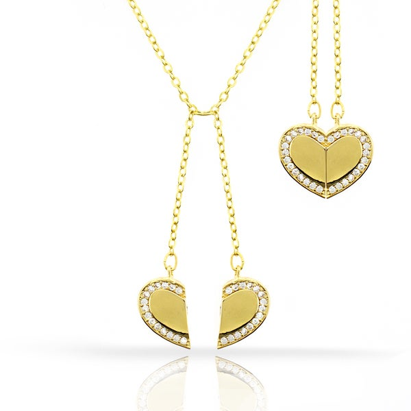 Womens Fashion Fancy Detachable Heart Crystal Yellow Gold Plated Pendant 18-inch Chain Necklace