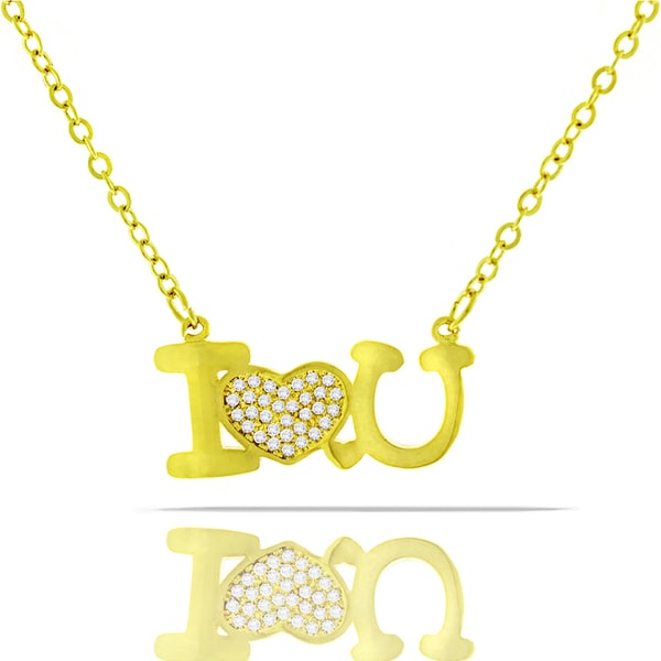Womens Fashion Fancy I Love You Heart Crystal Yellow Gold Plated Pendant 18-inch Chain Necklace