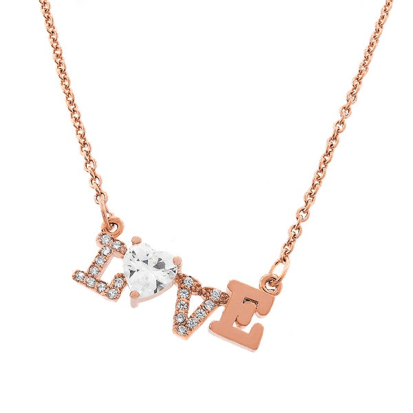 Womens Fashion Love Crystal Stone Rose Gold Plated Pendant 18-inch Chain Necklace
