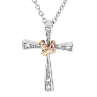 H Star Sterling Two-tone Gold Plated 1/4ct TDW Diamond Cross Pendant (I-J, I2-I3)