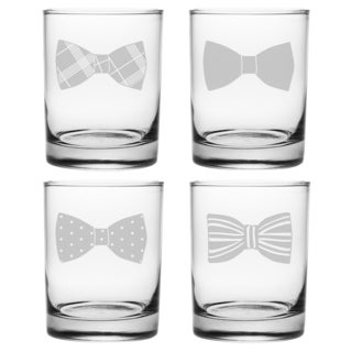 Bowties Rocks Glass, 14-ounce (Set of 4)