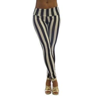 Dinamit Women's High Waist Black and White Stripe Leggings