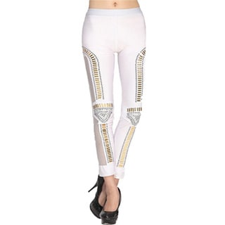 Dinamit Women's White High Performance Legging With Studs