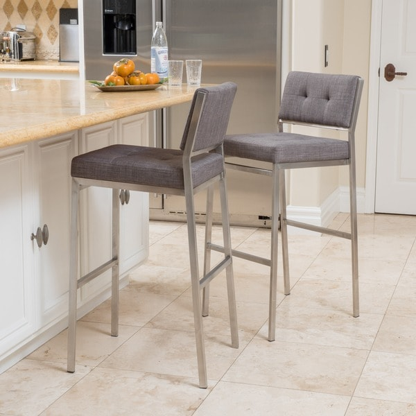 Christopher Knight Home Quito Fabric Barstool Set Of 2