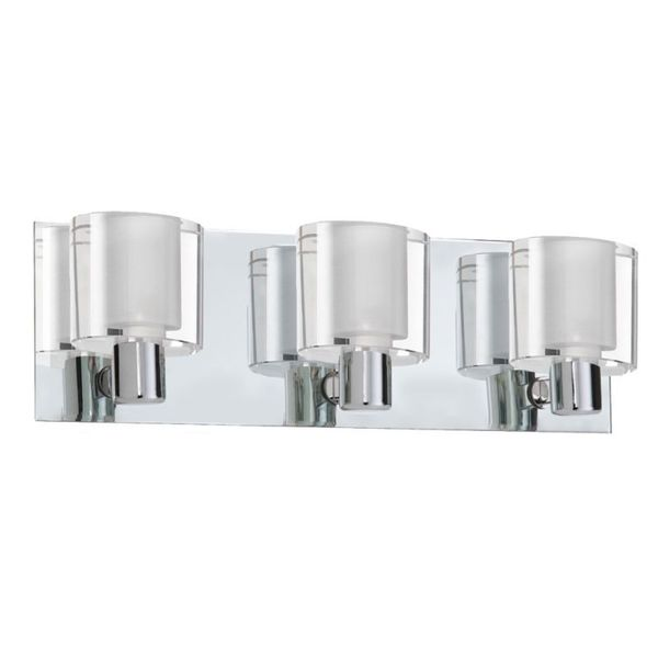 Cambridge 3-Light Polished Chrome Vanity with Frosted White Glass