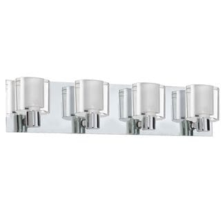 Cambridge 4-Light Polished Chrome Vanity with Frosted White Glass