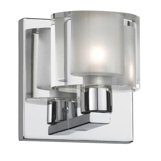 Cambridge 1-Light Polished Chrome Vanity with Frosted White Glass