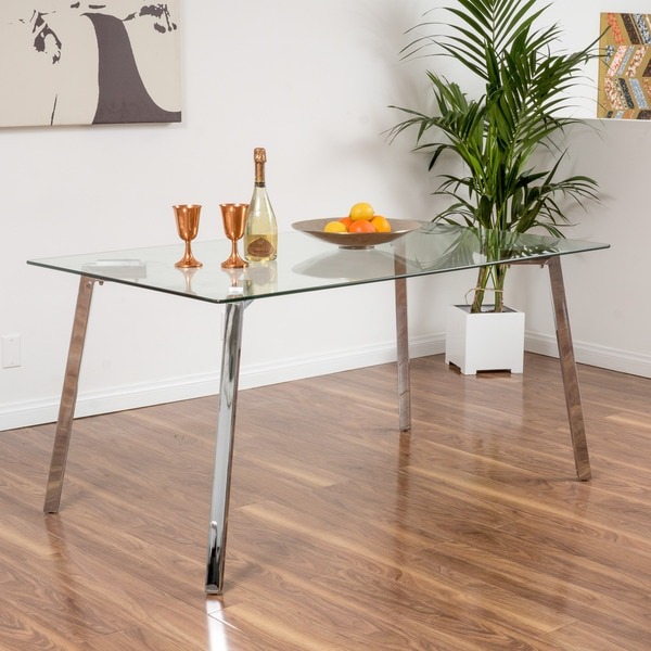 Christopher Knight Home Sabatay Tempered Glass Rectangle Dining Table ...