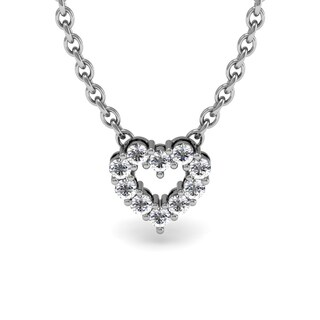 1/3 Carat Diamond Heart Necklace, Sterling Silver, 18 Inches
