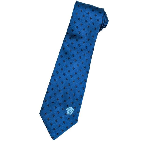 Versace 100-percent Italian Silk Blue/ Black Stars Neck Tie