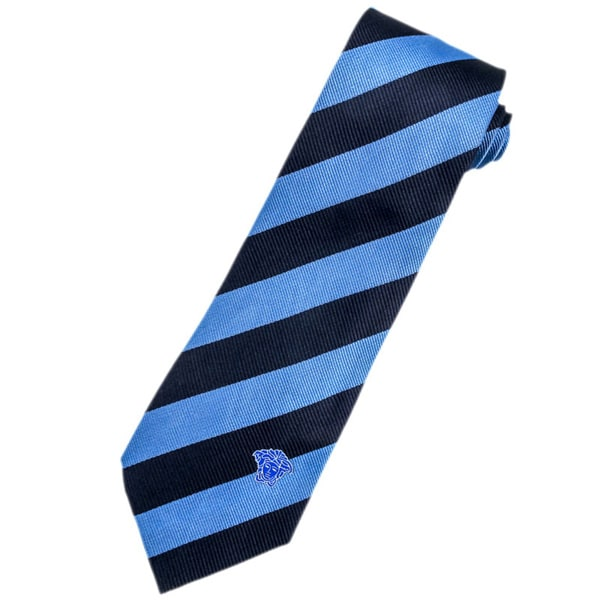 Versace 100-percent Italian Silk Navy Blue Stripe Neck Tie
