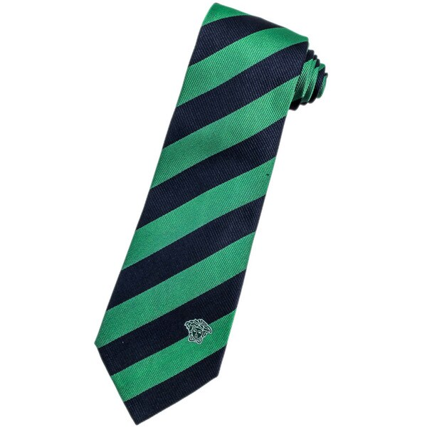 Versace 100-percent Italian Silk Blue/ Green Stripe Neck Tie