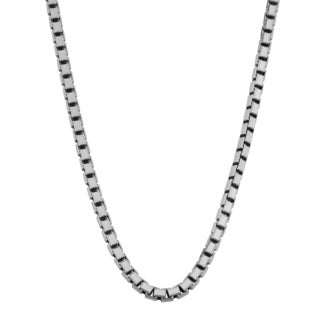 Fremada Rhodium Plated Sterling Silver 3-mm Box Chain Necklace (20 inches)