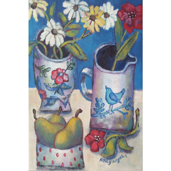 """Marmont Hill - """"Des Fleurs Et Poires"""" Painting Print on Canvas"""