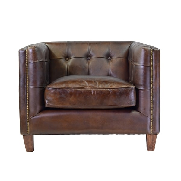 Capetown club genuine antique leather cigar brown chair for Bellagio button tufted leather brown chaise