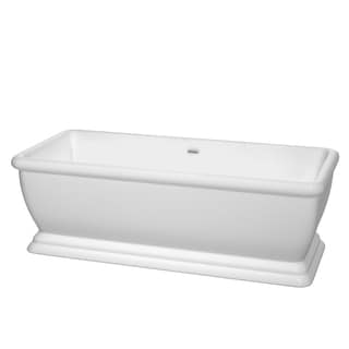 Wyndham Collection Candace 68-inch White Freestanding Soaking Bathtub