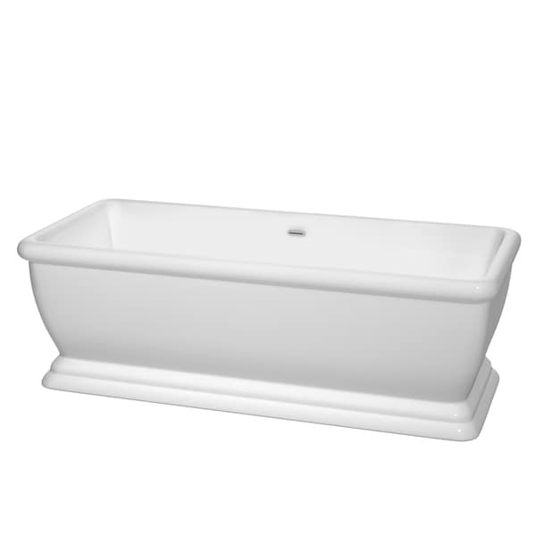 Wyndham Collection Candace 68 Inch White Freestanding Soaking Bathtub 18107