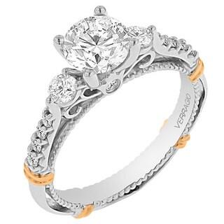 Verragio 14k Two-tone Gold Cubic Zirconia 1/3ct TDW Diamond Three Stone Semi-Mount Ring (G-H, SI1-SI2)