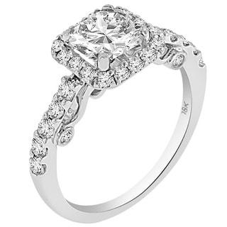 Verragio 18k White Gold with Cubic Zirconia Center and 7/8ct TDW Diamond Halo Semi-Mount Ring (F-G, VS1-VS2)