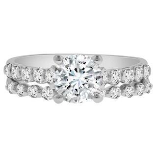 Verragio 18k White Gold Cubic Zirconia 3/4ct TDW Diamond Semi-Mount Ring and Wedding Band (F-G, VS1-VS2)