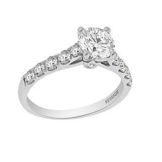 Verragio 18k White Gold Cubic Zirconia and 5/8ct TDW Diamond Side Stone Ring (F-G, VS1-VS2)