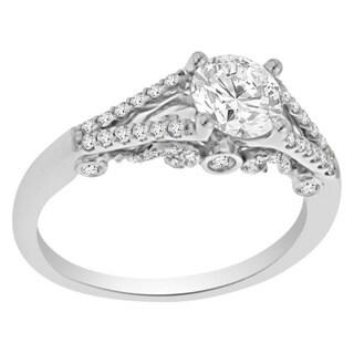 Verragio 18k White Gold Cubic Zirconia and 1/3ct TDW Diamond Filigree Engagement Ring (F-G, VS1-VS2)