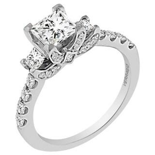 Verragio 18k White Gold Cubic Zirconia and 5/8ct TDW Diamond 3-stone Princess Engagement Ring (F-G, VS1-VS2)
