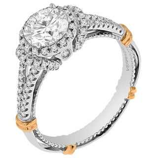 Verragio 14k Two-tone Gold Cubic Zirconia and 1/3ct TDW Diamond Halo Cut-out Gallery Ring (G-H, SI1-SI2)