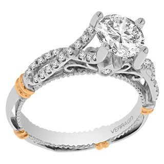 Verragio 14k Two-tone Gold Cubic Zirconia and 1/5ct TDW Diamond Side Stone Engagement Ring (G-H, SI1-SI2)