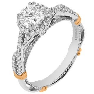 Verragio 14k Two-tone Gold Cubic Zirconia and 1/3ct TDW Diamond Twist Band Ring (G-H, SI1-SI2)