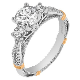 Verragio 14k Two-tone Gold Cubic Zirconia Center and 2/5ct TDW Diamond 3-stone Semi Mount Ring (F-G, VS1-VS2)