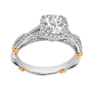 Verragio 14k Two-tone Gold Cubic Zirconia Center and 1/3ct TDW Diamond Semi Mount Wrap-around Band Ring (F-G, VS1-VS2)