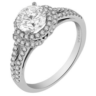Verragio 18k White Gold Cubic Zirconia and 1/3ct TDW Diamond Halo Split Shank Engagement Ring (F-G, VS1-VS2)